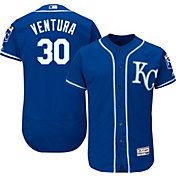 Majestic Men's Authentic Kansas City Royals Yordano Ventura #30 Alternate Royal Flex Base On-Field Jersey