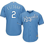 Majestic Men's Replica Kansas City Royals Alcides Escobar #2 Cool Base Alternate Light Blue Jersey