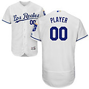 Majestic Men's Full Roster Authentic Kansas City Royals Flex Base Alternate Los Reales White On-Field Jersey