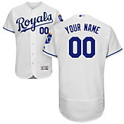 Majestic Men's Custom Authentic Kansas City Royals Flex Base Home White On-Field Jersey