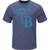 Majestic Men's Tampa Bay Rays Logo Heathered Navy T-Shirt