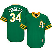 Majestic Men's Replica Oakland Athletics Rollie Fingers Cool Base Green Cooperstown Jersey