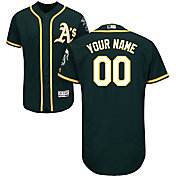 Majestic Men's Custom Authentic Oakland Athletics Flex Base Alternate Green On-Field Jersey