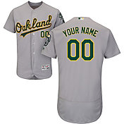 Majestic Men's Custom Authentic Oakland Athletics Flex Base Road Grey On-Field Jersey