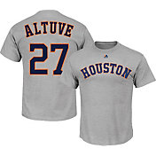 Majestic Men's Houston Astros Jose Altuve #27 Grey T-Shirt