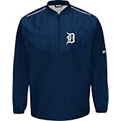 Majestic Men's Detroit Tigers Authentic Collection On-Field Navy Cool Base Half-Zip Training Jacket