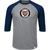 Majestic Men's Detroit Tigers Cooperstown Grey/Navy Raglan Three-Quarter Sleeve Shirt