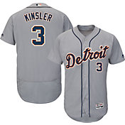 Majestic Men's Authentic Detroit Tigers Ian Kinsler #3 Road Grey Flex Base On-Field Jersey