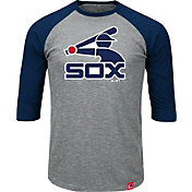 Majestic Men's Chicago White Sox Cooperstown Grey/Navy Raglan Three-Quarter Sleeve Shirt