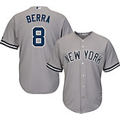 Majestic Men's Replica New York Yankees Yogi Berra #8 Cool Base Road Grey Jersey