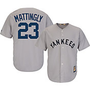 Majestic Men's Replica New York Yankees Babe Ruth Cool Base Grey Cooperstown Jersey