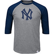 Majestic Men's New York Yankees Cooperstown Grey/Navy Raglan Three-Quarter Sleeve Shirt