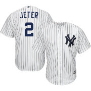 Majestic Men's Replica New York Yankees Derek Jeter #2 Cool Base Home White Jersey