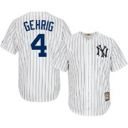 Majestic Men's Replica New York Yankees Lou Gehrig Cool Base White Cooperstown Jersey