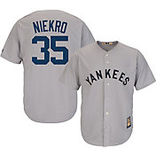 Majestic Men's Replica New York Yankees Phil Niekro Cool Base Grey Cooperstown Jersey