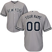 Majestic Men's Custom Cool Base Replica New York Yankees Road Grey Jersey