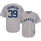 Majestic Men's Replica New York Yankees Darryl Strawberry Cool Base Grey Cooperstown Jersey