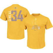 Majestic Men's Los Angeles Lakers Shaquille O'Neal #34 Gold T-Shirt