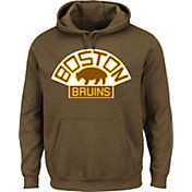 Majestic Men's Boston Bruins Vintage Tek Patch Brown Hoodie