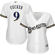 Majestic Women's Replica Milwaukee Brewers Bob Uecker #9 Cool Base Home White Jersey