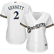 Majestic Women's Replica Milwaukee Brewers Scooter Gennett #2 Cool Base Home White Jersey