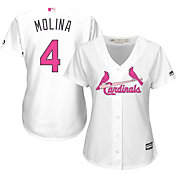 Majestic Women's Replica St. Louis Cardinals Yadier Molina #4 2016 Mother's Day Cool Base Home White Jersey
