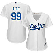 Majestic Women's Replica Los Angeles Dodgers Hyun-jin Ryu #99 Cool Base Home White Jersey