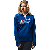 Majestic Women's Los Angeles Dodgers On-Field Royal Authentic Collection Quarter-Zip Pullover Hoodie