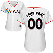 Majestic Women's Custom Cool Base Replica Miami Marlins Home White Jersey