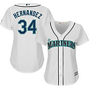 Majestic Women's Replica Seattle Mariners Felix Hernandez #34 Cool Base Home White Jersey