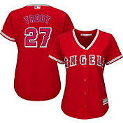 Majestic Women's Replica Los Angeles Angels Mike Trout #27 Cool Base Alternate Red Jersey