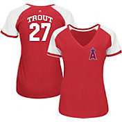 Majestic Women's Los Angeles Angels Mike Trout #27 Red/White Raglan V-Neck T-Shirt