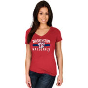 Majestic Women's Washington Nationals Red V-Neck T-Shirt
