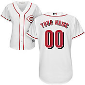 Majestic Women's Custom Cool Base Replica Cincinnati Reds Home White Jersey