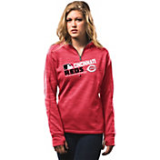 Majestic Women's Cincinnati Reds On-Field Red Authentic Collection Quarter-Zip Pullover Hoodie
