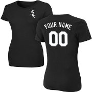 Majestic Women's Custom Chicago White Sox Black T-Shirt