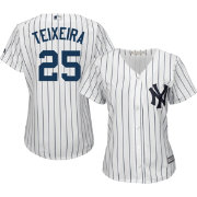 Majestic Women's Replica New York Yankees Mark Teixeira #25 Cool Base Home White Jersey