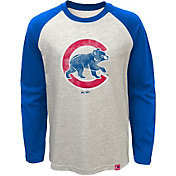 Majestic Youth Chicago Cubs White Raglan Long Sleeve Shirt
