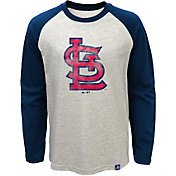 Majestic Youth St Louis Cardinals White Raglan Long Sleeve Shirt