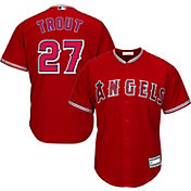 Majestic Youth Replica Los Angeles Angels Mike Trout #27 Cool Base Alternate Red Jersey