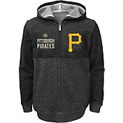 Majestic Youth Pittsburgh Pirates Grey Full-Zip Hooded Fleece