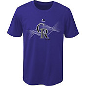 Majestic Youth Colorado Rockies Cool Base Kinetic Logo Purple Performance T-Shirt
