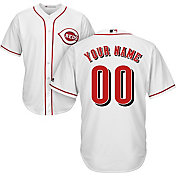 Majestic Youth Custom Cool Base Replica Cincinnati Reds Home White Jersey