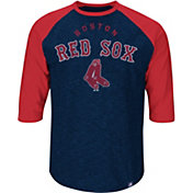 Majestic Youth Boston Red Sox Cooperstown Navy Raglan Three-Quarter Sleeve Shirt