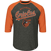 Majestic Youth Baltimore Orioles Cooperstown Grey Raglan Three-Quarter Sleeve Shirt
