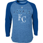 Majestic Youth Kansas City Royals Royal Raglan Long Sleeve Shirt