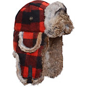 Mad Bomber Men's Red and Black Plaid Faux Fur Wool Bomber