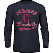Majestic Threads Men's Cleveland Indians Navy Long Sleeve Shirt