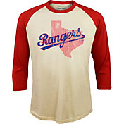 Majestic Threads Men's Texas Rangers Raglan Three-Quarter Shirt