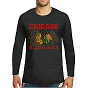 Majestic Threads Men's Chicago Blackhawks Tri-Blend Black Long Sleeve T-Shirt